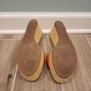 Prada Shoes - Prada Orange Larger Basketweave Wedge